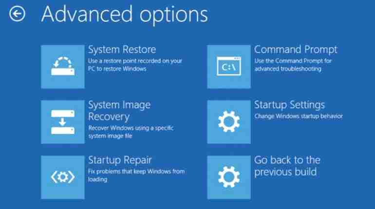 Windows boot into advanced mode with options