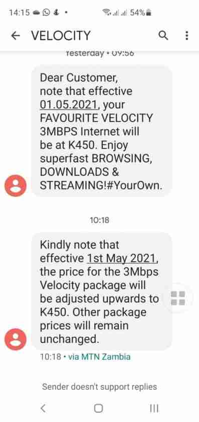 Zamtel Velocity SMS notification about the change in the pricing of 3mbps